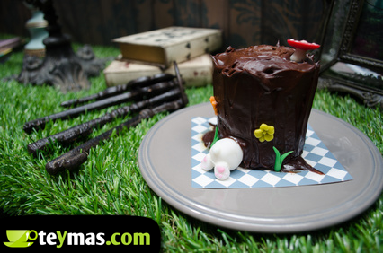 Copa hecha de chocolate